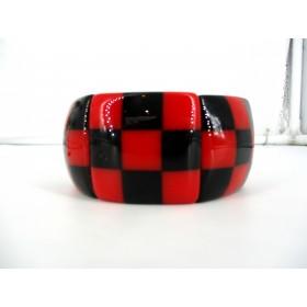 Bracelet Vintage Manchette Damier en Résine