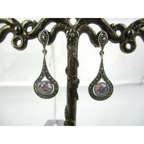 Boucles d'oreilles pendantes Vintages en Argent et Zirconium