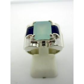 Bague en Argent avec Opale et Lapis Lazuli