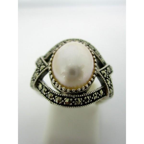 Bague Vintage en Argent et Perle