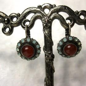 Boucles d'oreilles florales vintage avec pierres de cornaline