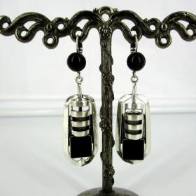 Boucle d'oreille style vintage pour femme en onyx noir