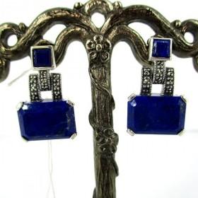 Boucle d'oreille vintage art déco en argent et lapis lazuli