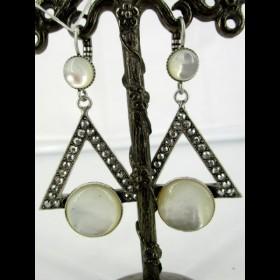 Boucle d'oreille art déco triangle avec pierres en nacre