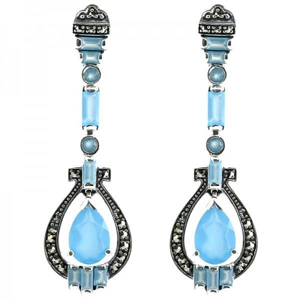 Boucles d'oreilles vintage en argent 925 serties d'agates bleues