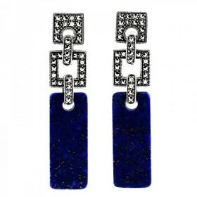 Boucles d'Oreilles  art déco en argent et lapis lazuli