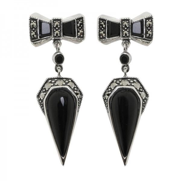 Boucles d'oreilles papillons en argent et onyx noir