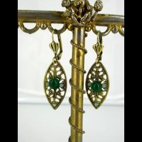 Boucles d'oreilles vintage dorées en aventurine