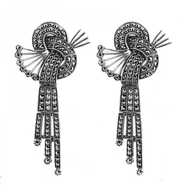 Boucles d'oreilles art déco pour femme en argent et marcassites