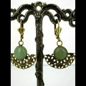 Boucles d'oreilles art déco dorées avec pierre aventurine