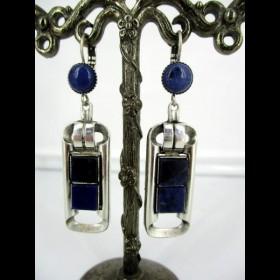 Boucle d'oreille vintage métal argenté avec Lapis lazuli