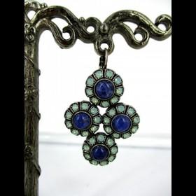 Boucle d'oreille avec pierres en lapis lazuli et pacifique