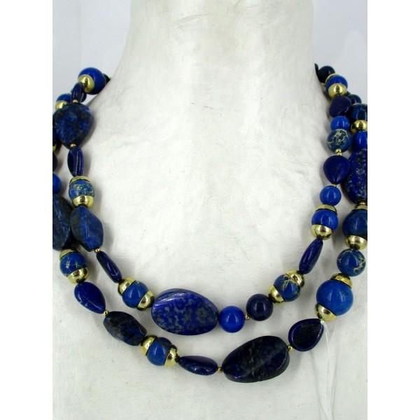 Sautoir avec pierres lapis lazuli
