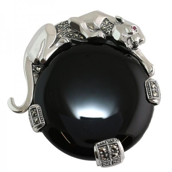 Broche en argent art déco vintage avec onyx noir et rubis