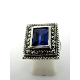 Bague en argent et zirconium bleue