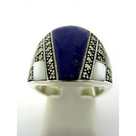Bague en argent avec Lapis Lazuli et nacre