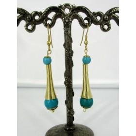 Boucles d'oreilles pendantes dorées avec turquoise