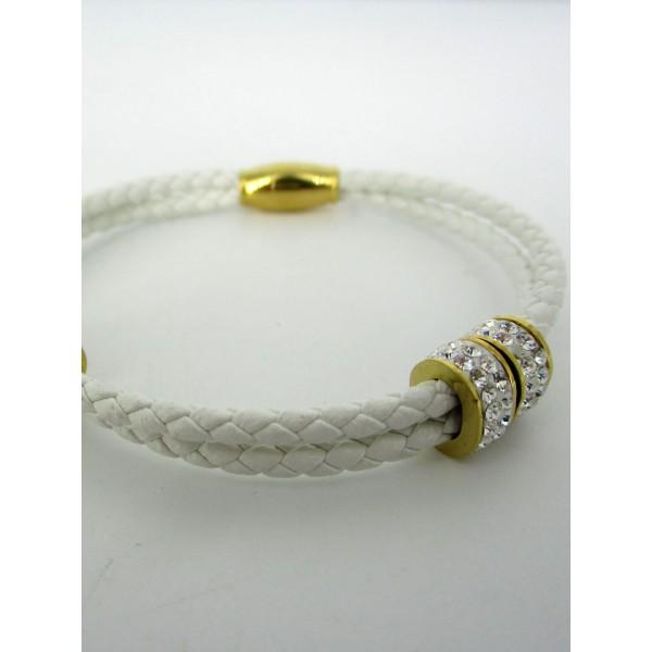 Bracelet tressé blanc avec zirconium