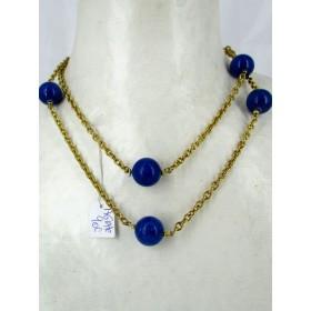 Sautoir avec Agate Bleu