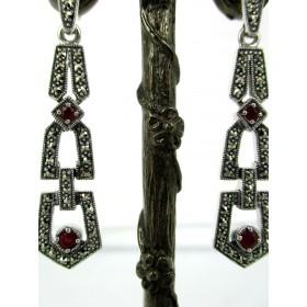 Boucles d'Oreilles pendantes en Argent  et Rubis