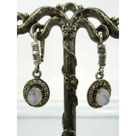 Boucles d'Oreilles Ovale en Vermeil Argent et Opales